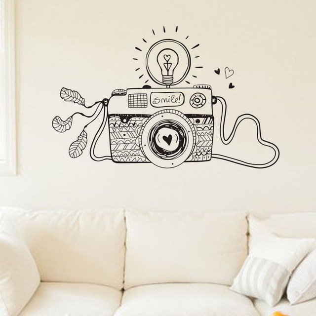 creative smile light bulb 3d camera wall stickers design cartoon