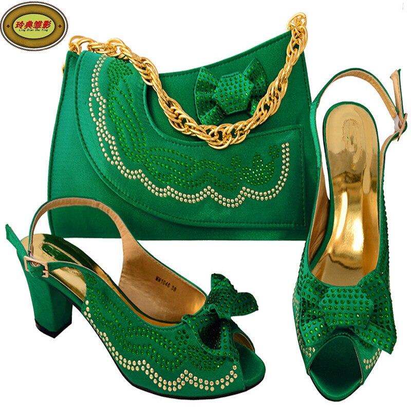 Фото MM1046 New Fashion Wedding Rhinestone Italian High Heel With Matching Bags Nice Design African Women Shoes and Bags Set