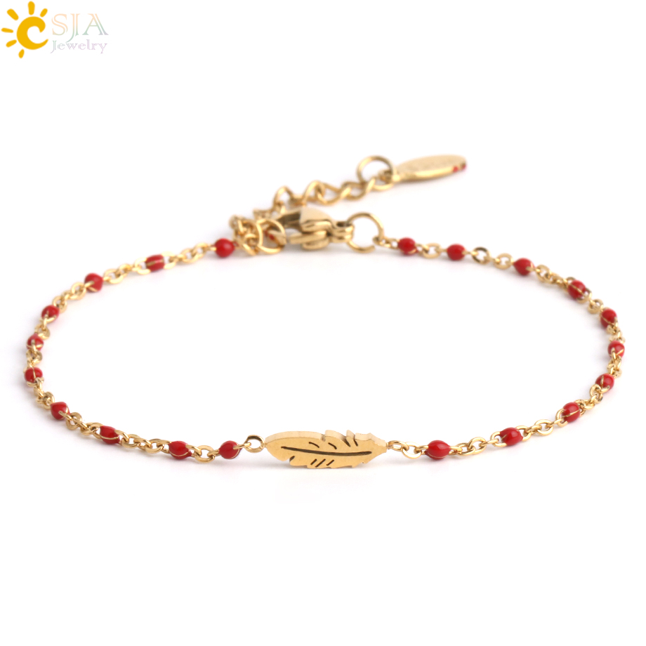 CSJA Stainless Steel Bracelets for Woman Luxury Bracelet Femme Jewelry Gold Color Feather Charm Famous Brand Chain Pulseras S410