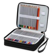 124 ホルダー 4 重層ポータブルpuレザー学校鉛筆ケース大容量の鉛筆バッグ色鉛筆水彩画材