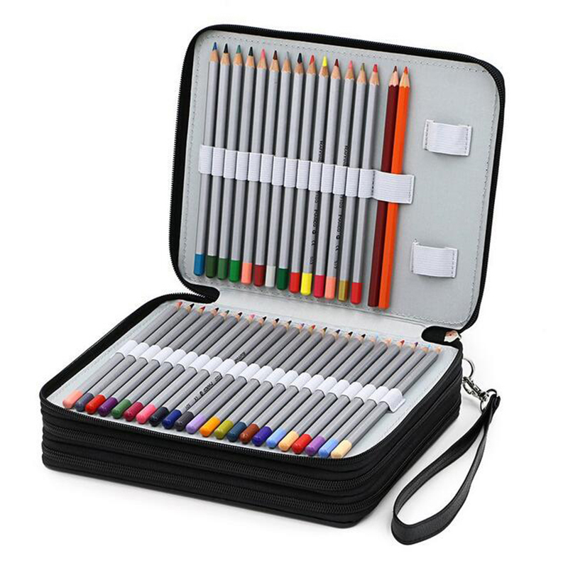 124 Holder 4 Layer Portable PU Leather School Pencils Case Large Capacity Pencil Bag For Colored Pencils Watercolor Art Supplies new cute kawaii 72 150 holder portable school pencils case large capacity pencil bag for colored pencils watercolor art supplies