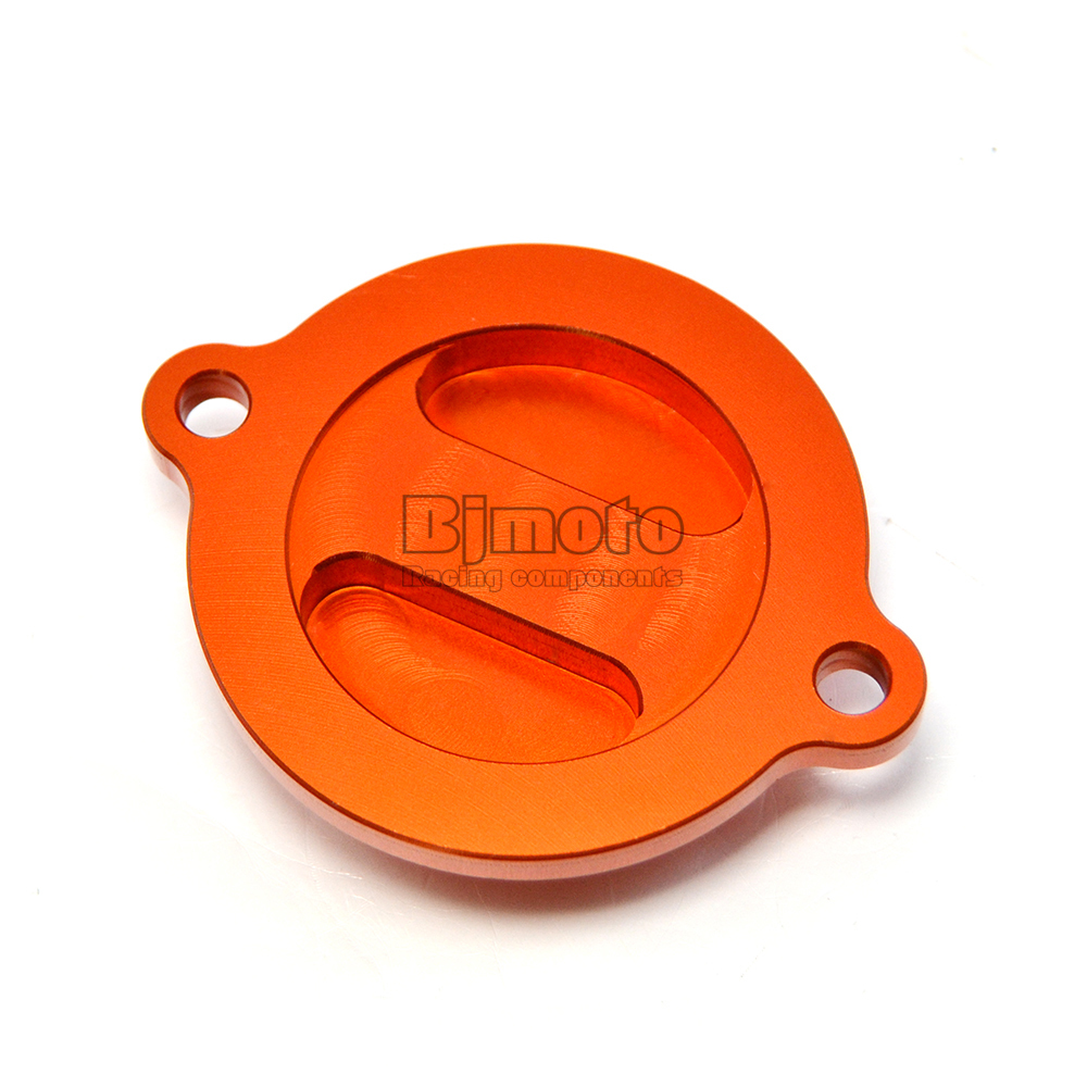 BJMOTO Orange CNC Engine Oil Filter Cover Cap For KTM 125 200 390 Duke RC 125 200 390 for ktm logo 125 200 390 690 duke rc 200 390 motorcycle accessories cnc engine oil filter cover cap