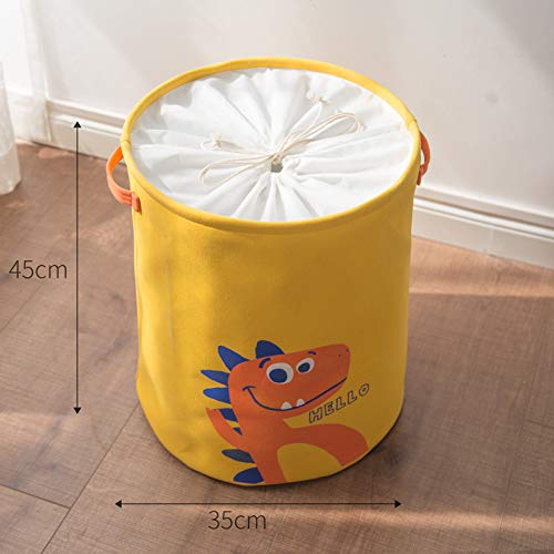 Waterproof  Laundry Organizer Bag Blue Yellow Dinosaur  Dirty Laundry Hamper For Kid  Collapsible Home Laundry Basket Storage