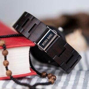 Image 4 - BOBO BIRD relogio masculino Wooden Watch Men Timepieces Quartz Watch in Wood Gift Box OEM Drop Shipping W O03