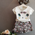 Retail 2016 new next girls clothes Summer girls cartoon cat T-shirt + flower printed bow shorts 2pcs kids clothes 2-7years