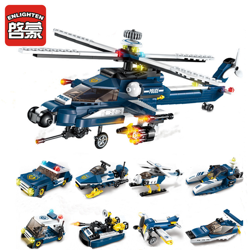 ENLIGHTEN 1801 Military 8 In 1 Storm Armed Helicopter Figure Blocks Compatible Legoe Construction Building Toys For Children 0587 sluban army series 8 in 1 military tank truck model building blocks enlighten diy figure toys for children compatible legoe