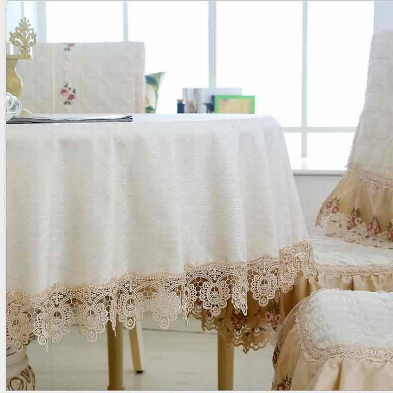 120cm IVORY BEIGE Embroider Lace Round Coffee Dinning Tablecloth suit  2-3 seat