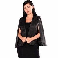 Aletterhin Black PU Leather Cloak Cape Blazer Coat Sexy Personality Notched Neck Lapel Split Jacket Suits Women Blazer Feminino