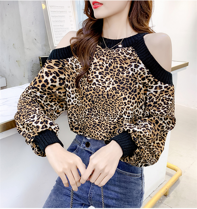 Leopard Blouse Long Sleeve Chiffon Shirt Women Sexy Off Shoulder 2019 Spring Ladies Top Blusas Mujer Verano Tunic Tops Plus Size 5