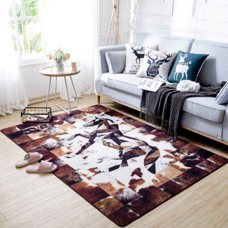 Alta qualità Americano Bestiame pelliccia Del Faux tappeto stampato Anti-skid Tappeto per soggiorno/Sala Da Pranzo Camera Da Letto tavolo da tè tappetino tappeto