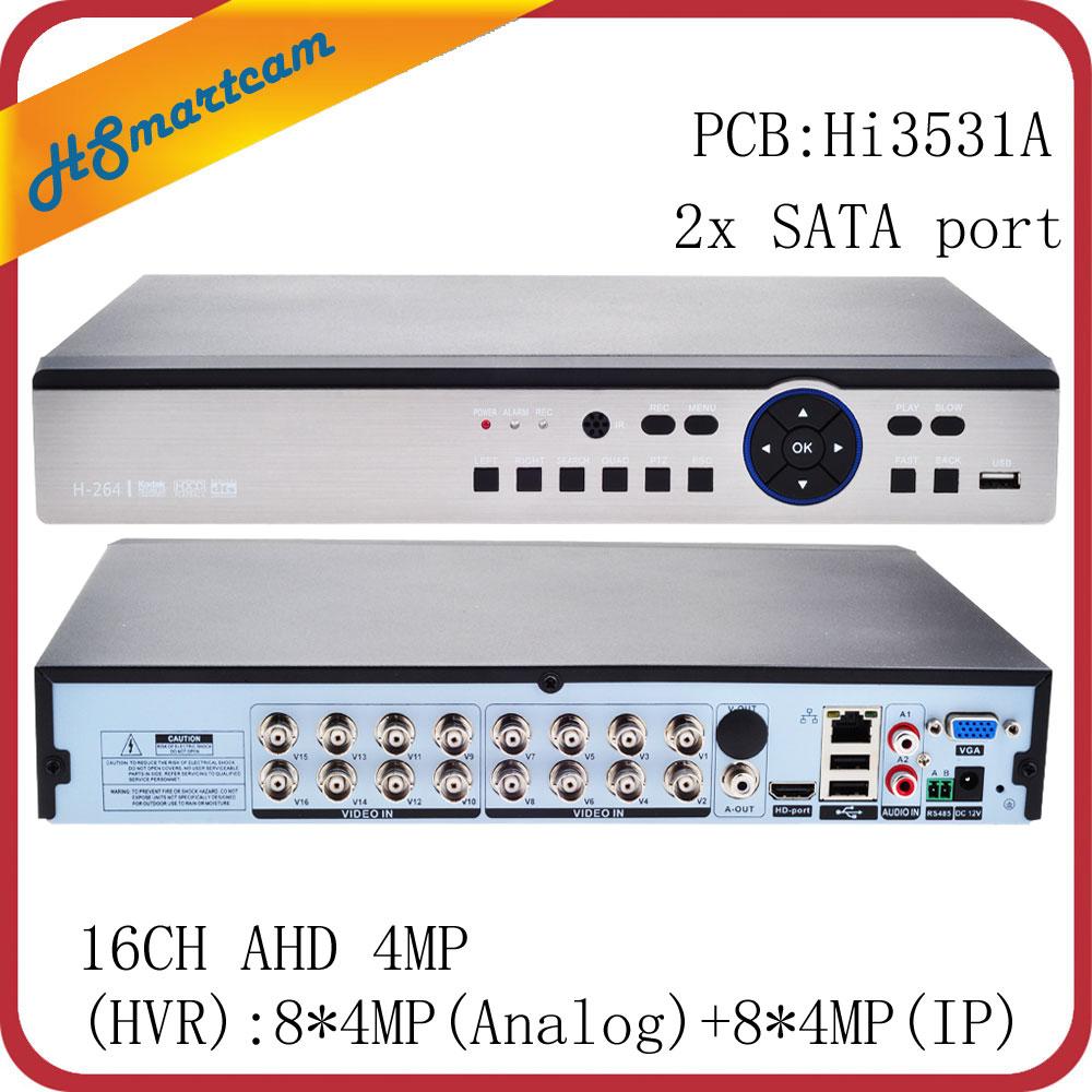 16CH AHD 4MP HD DVR 4CH 8CH видеонаблюдения Видео регистраторы 1080P HDMI USB 3G Wi Fi XMEYE поддержка 8CH 4MP (аналоговый) + 8CH 4MP (IP)