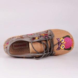 Image 5 - Veowalk Vintage Vrouwen Schoenen Thai Katoen Linnen Canvas Uil Geborduurde Doek Enkele Nationale Flats Geweven Ronde Neus Lace Up Schoenen