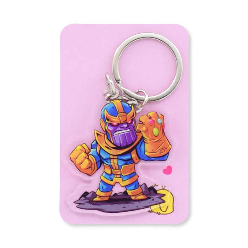 Брелок для ключей Infinity War Thanos Капитан Америка двухсторонний супер герой комический брелок мультяшный акриловый брелок аксессуары PCB138