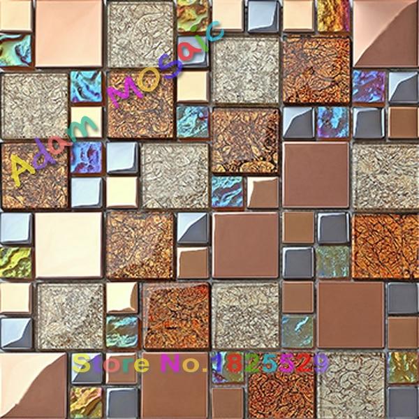 Marrón azulejo de la cocina backsplash mosaico de vidrio pared de la ...