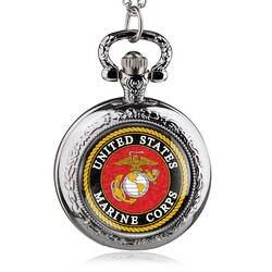Винтаж бронзовый корпус морской пехоты США тема карманные часы для мужчин женщин Военная Униформа человек подарки