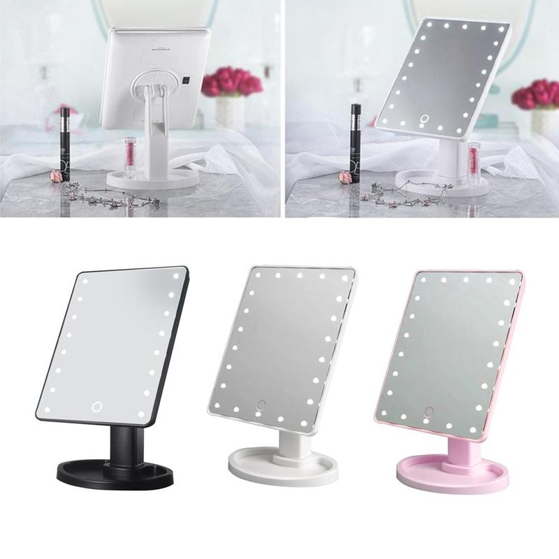 цены 360 Degree Rotation LED Makeup Mirrors Pro Vanity Mirror With 22 Led Lights Adjustable Make Up Mirror Handspiegel