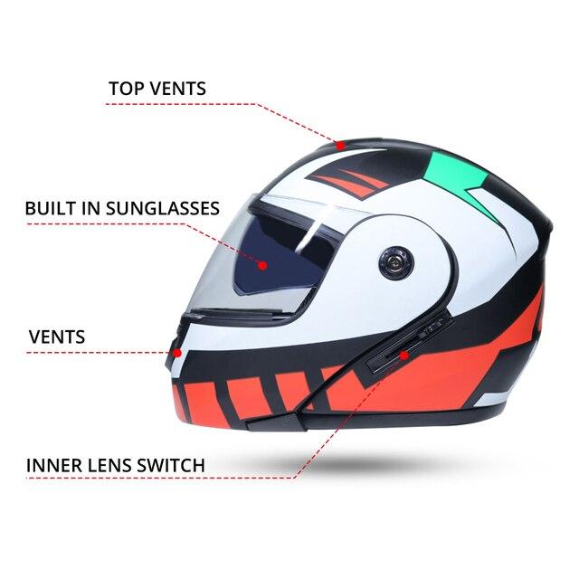 2019 New Motorcycle Helmet Racing Modular Dual Lens Motorbike Moto Helmet Flip Up Full Face Helmets Casco Moto Capacete Casque 1