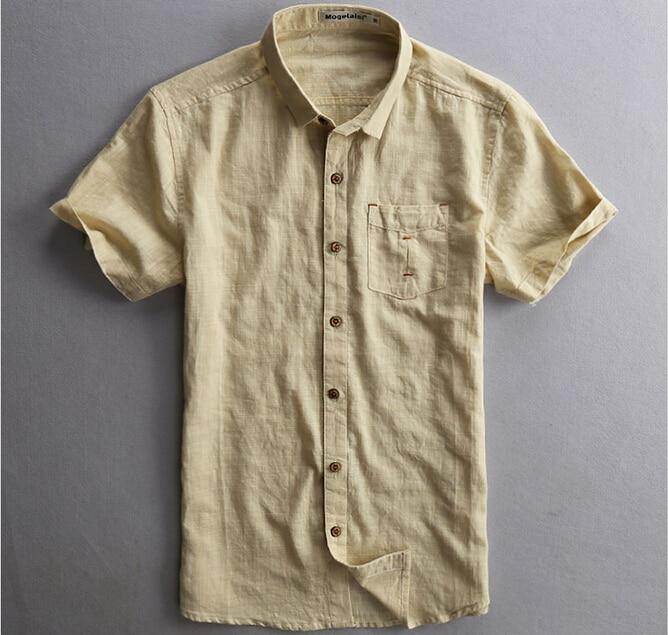c89f2aeb8 2015 New Mens Linen Shirt Short Sleeve White/Dark Blue/Light Yellow Color  Casual Men Shirt Short Sleeve Casual Shirt Men-in Casual Shirts from Men's  ...