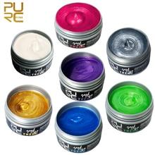 PURC Hair Color Wax Dye Temporary One-Time Portable Molding Paste Available Blue Burgundy Grandma Gray Hair Dye 100ml P10