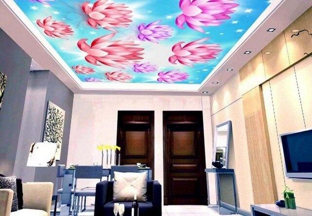 Behang Plafond Badkamer : Custom d plafond muurschilderingen mooie lotus d luxe plafond