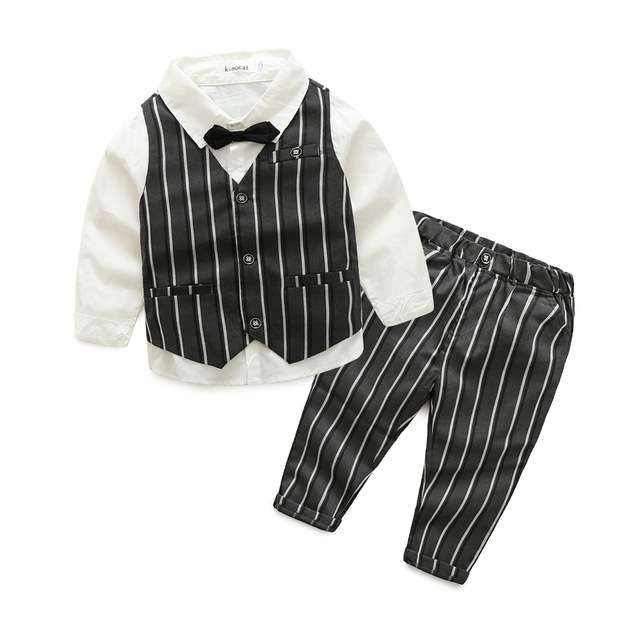 Children fall new children's clothing wholesale trade in Europe style boy gentleman three suit vest vertical striped trousers