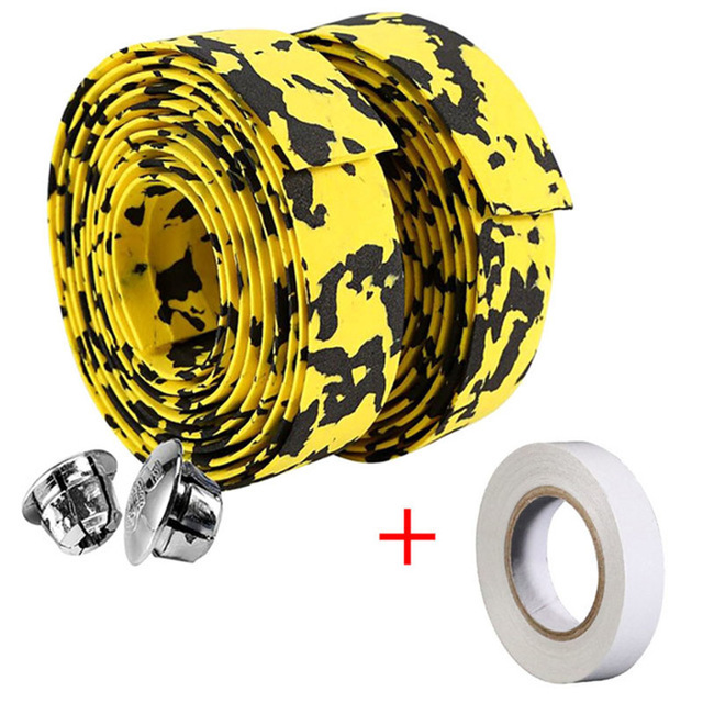 1 pair Road Bike Bicycle Handlebar Tape Camouflagebelt Cycling Handle Belt Cork Wrap with Bar Plugs non slip absorb sweat 4