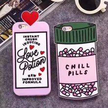3D Luxury Love Potion Chill Pills Bottle Phone Case Cover For iPhone SE 5 5S 6 6S 7 7S 4.7″ & Plus 5.5 Soft Silicone Para Fundas