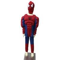 2016新しいホット子供スパイダーマン服ロールプレイハロウィン衣装子供のためのクモ男筋肉モデル男の子女の子服セッ