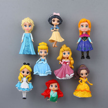 8pcs Princess Mermaid Snow White Souvenir Fridge Magnets for Kids PVC Cute Cartoon People Magnetic Sticker 6-7 CM