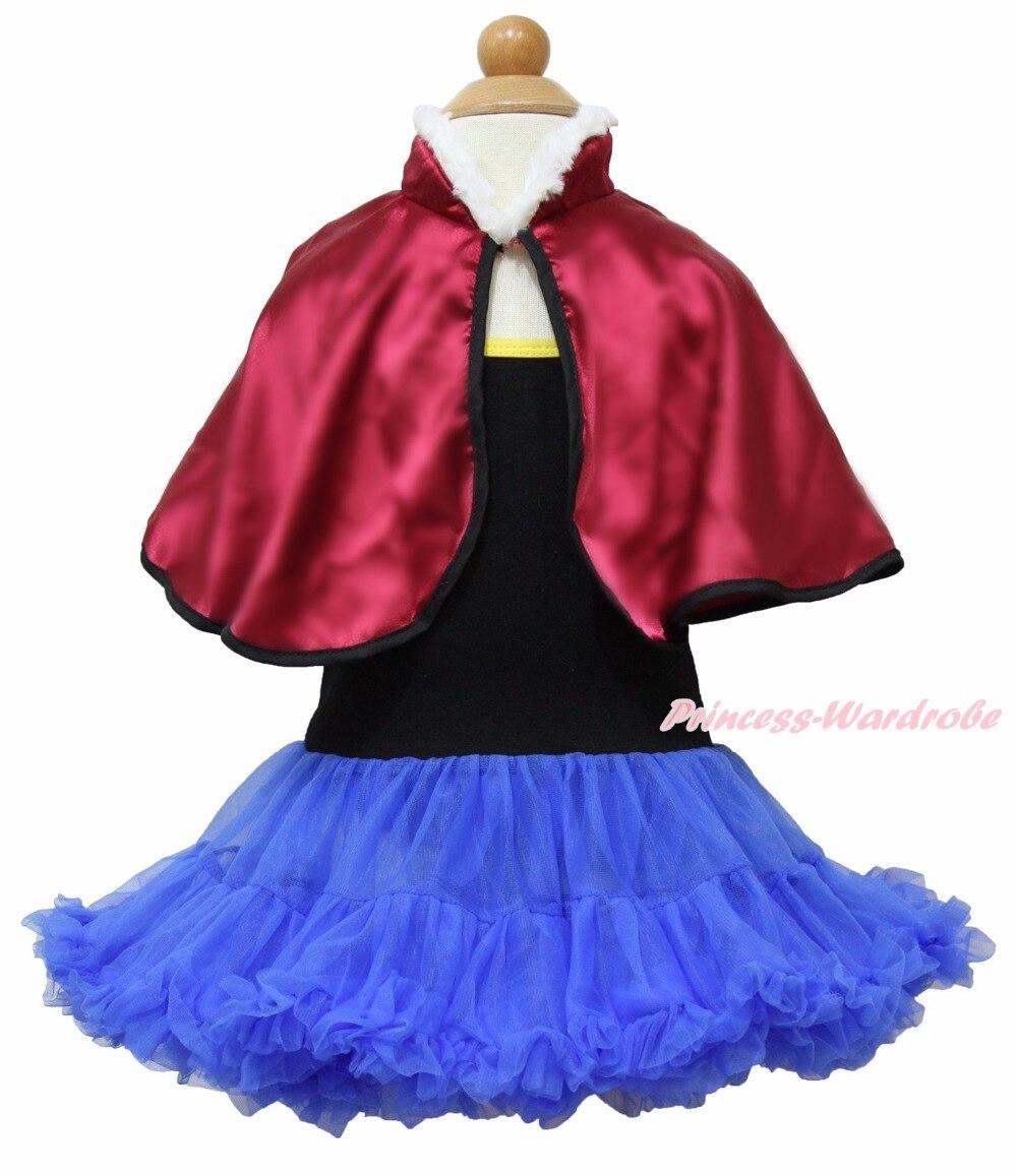ФОТО black blue halter dress snow princess anna short cape coat costume set 1-8year