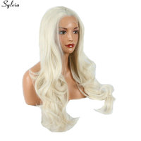 Sylvia Natural Wavy Soft Hair 60 Blonde Heat Resistant Lace Front Wig Synthetic Long Ash Blonde
