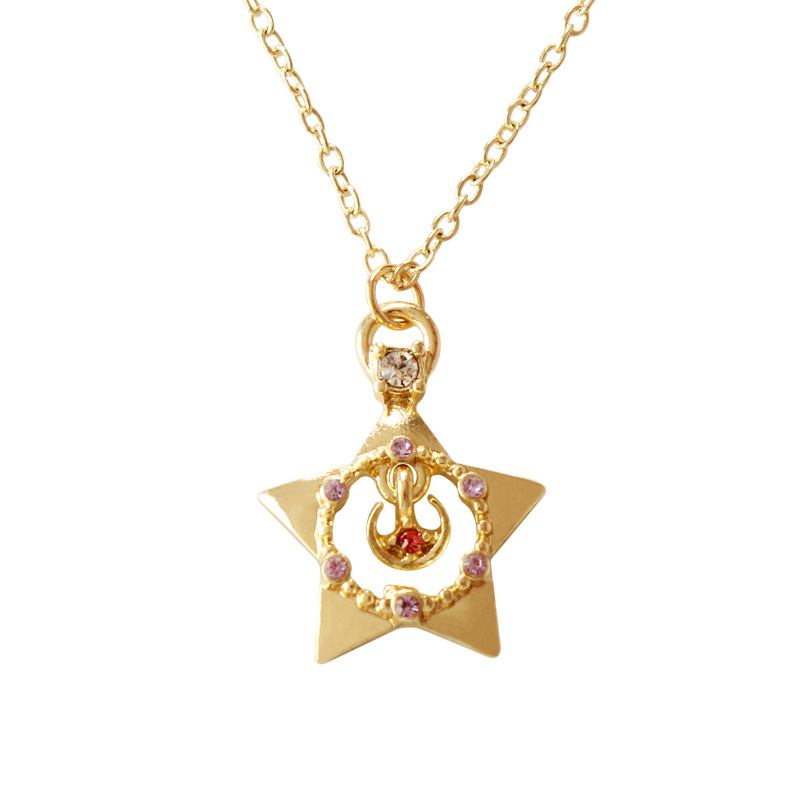 Hollow Guardian five-pointed Star Rhinestone Red Crystal Pendant Necklace Japanese Gold Color Cyber Necklace For Women Girls