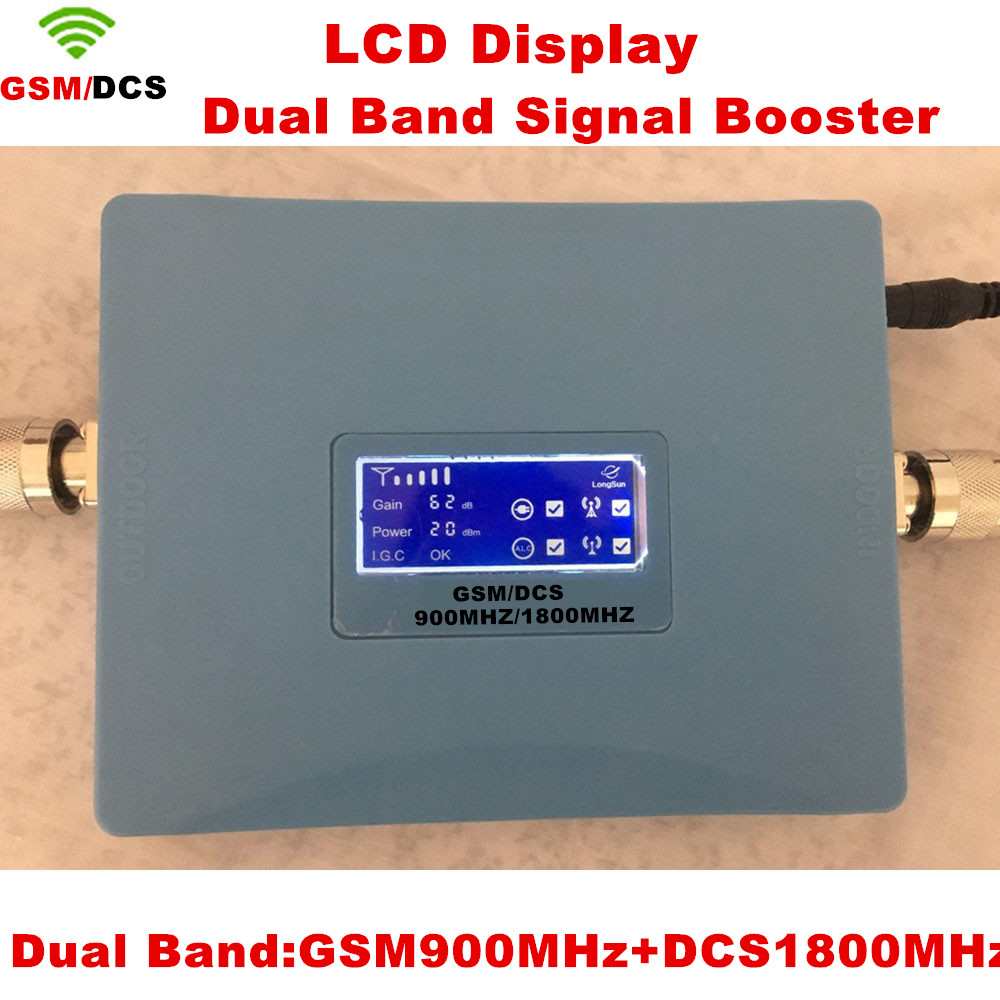 LCD Display GSM 900 DCS LTE 1800 Dual Band Cell Phone Signal Booster GSM 4G 1800mhz Cellphone Repeater AmplifierLCD Display GSM 900 DCS LTE 1800 Dual Band Cell Phone Signal Booster GSM 4G 1800mhz Cellphone Repeater Amplifier