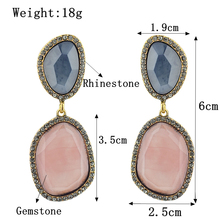 SHCXGQN Multicolor Stone Earrings for Women Rhinestone Vintage Gold Drop Earings Female Long Earrings 2018 Jewelry Accessories