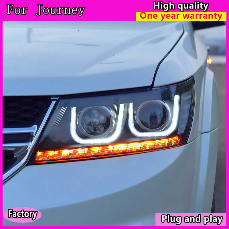 Car Styling Assembly for FORD EDGE led Headlights 2010-2014 bi xenon lens Double U LED DRL xenon H7 Car headlight Accessories