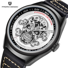 PAGANI DESIGN Mens Watches Classic 3D Skull Punk Style Mechanical Submariner Clock Top Brand Luxury Automatic Watch