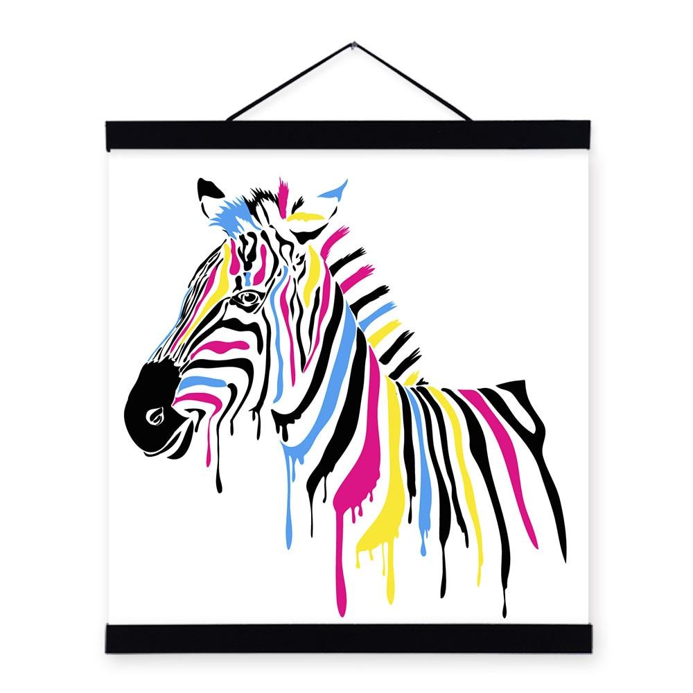 Sodobna divjad, barvita zebra risanka živali A4 velik umetniški - Dekor za dom - Fotografija 4
