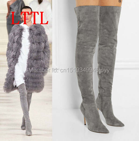 sold worldwide buy online run shoes Online Shop Top quality suede boot high heel slim thigh high boots ...