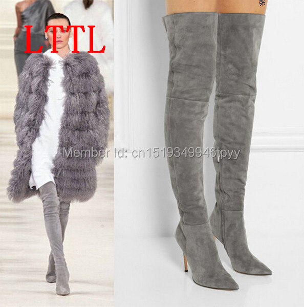 Top quality suede boot high heel slim thigh high boots pointed toe over the knee genuine leather boot big size 43 44 45
