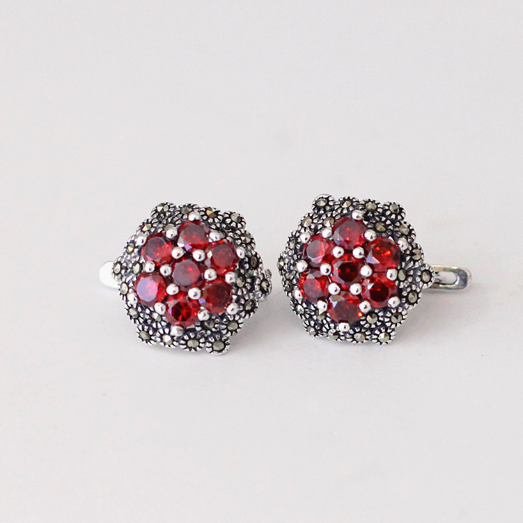S925 fine jewelry wholesale with flower ladies exquisite red ear clip