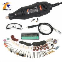 Tungfull US 110V EU 220V 130W Dremel Style Electric Rotary Tool Variable Speed Mini Drill with 106PC Accessories Power Tools