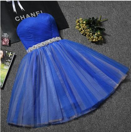 Royal Blue Short Bridesmaid Dress Sweetheart Pink Prom Dresses Beading Waist Bride Sister Party Dresses Vestido