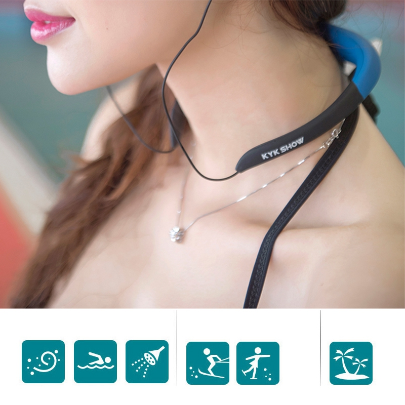 Waterproof 8GB Sport MP3 Music Player Neckband Stereo Earphone Sweatproof Audio Headset with FM for Diving Swimming