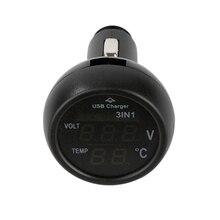 Hot Multifunction 3 Em 1 Carro Voltímetro Digital 12 v/24 v Termômetro USB Carregador de Carro Real-time monitor de Azul Vermelho