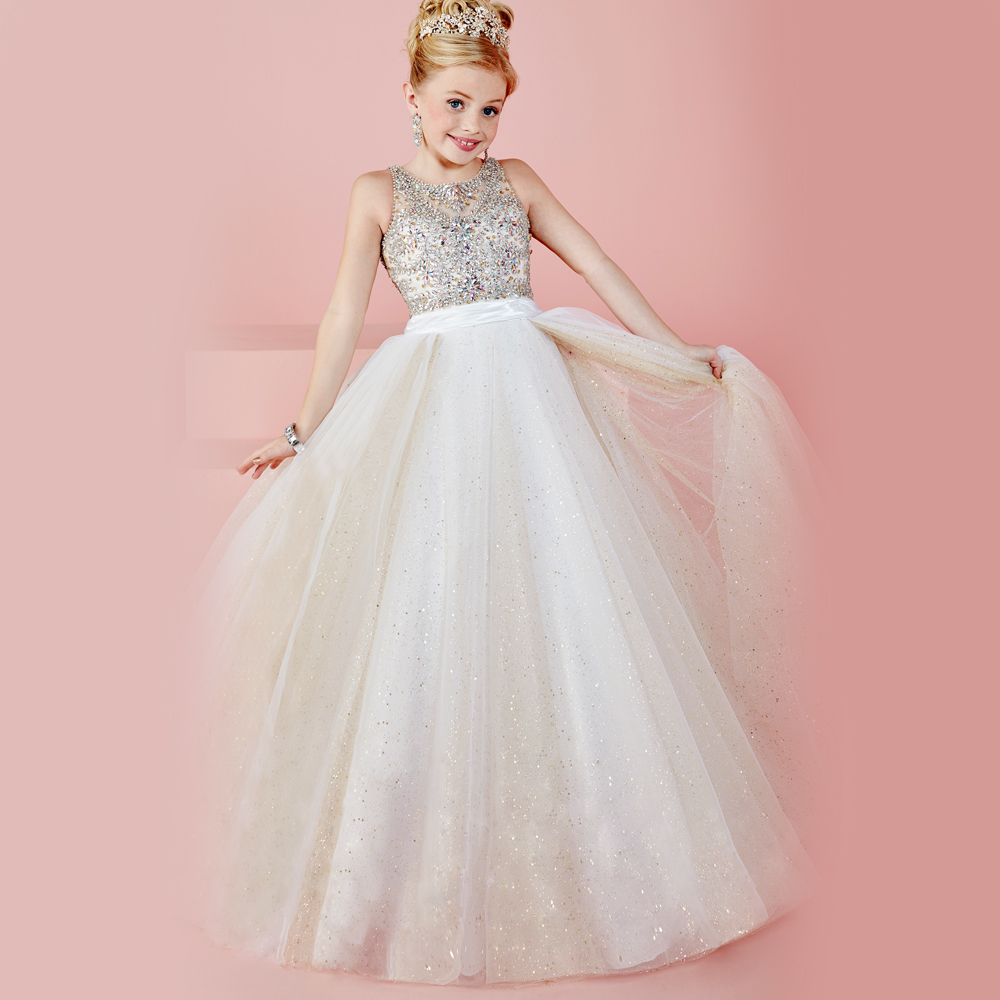 Luxurious Beaded bodice Hollow Back Girls Pageant Dresses Little Girls Gorgeous Lace Up Wedding Party Dresses for 2-12 year old