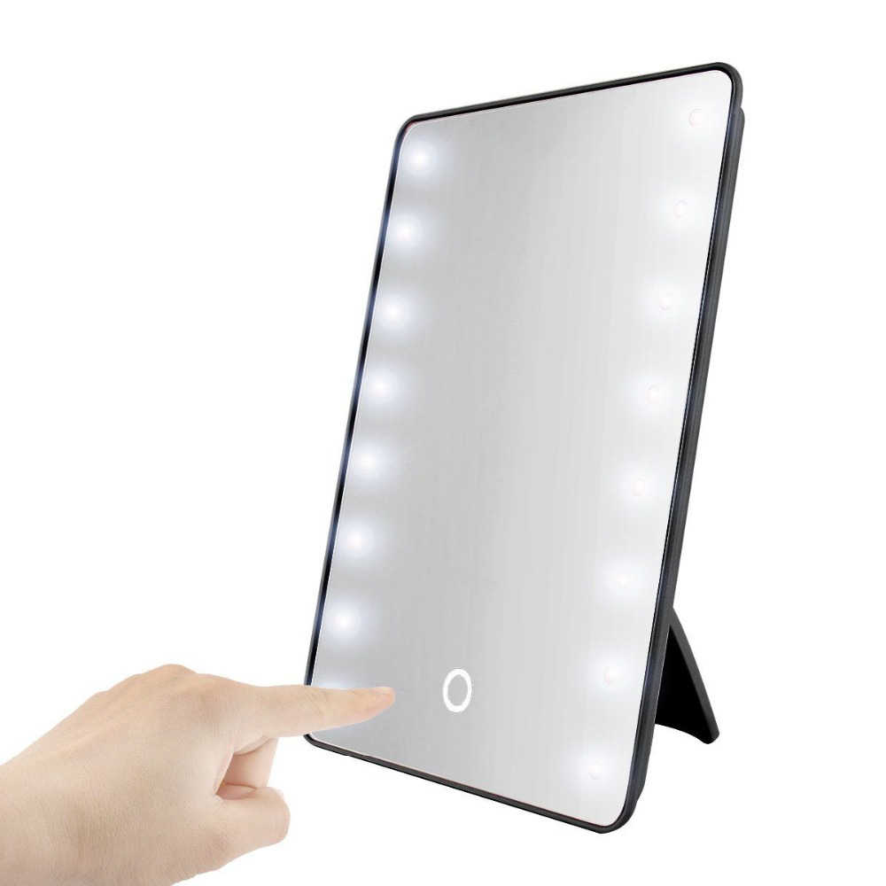 RUIMIO Makeup Mirror with 8/16 LEDs Cosmetic Mirror with Touch Dimmer Switch Battery Operated Stand for Tabletop Bathroom Travel