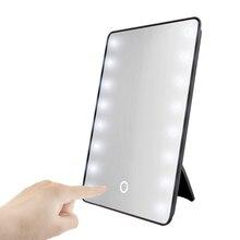 Espejo de maquillaje RUIMIO con 8/16 LEDs espejo cosmético con regulador táctil interruptor operado por batería Soporte para Baño de sobremesa viaje