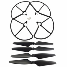 2 Pairs CW/CCW Blades & 4PCS Protection ring for Hubsan H501S H501A H501C H501M H501S W H501S pro RC helicopter Black