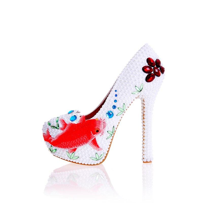 White Bridal Il Nizza Alti Disegno Tacchi Heels 12cm Del Cristallo Evento Pearl 43 Wedding Pompe Sera Scarpe Party Più Speciale Heels Di Formato white Prom Partito 14cm Da xUxYw6qIR