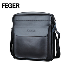 FEGER Fashion Men Messenger Bag Leisure Bag Split Leather Cross Body Bag Shoulder Business Bag High Quality